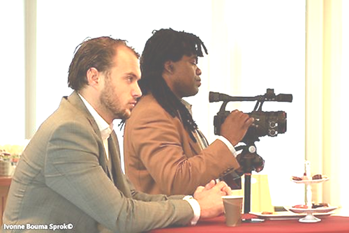 Dr Bikouta Nkaoulou filming during The Businessclub Oost-Groningen in october 3, 2014 (Photo by Ivonne Bouma Sprok).