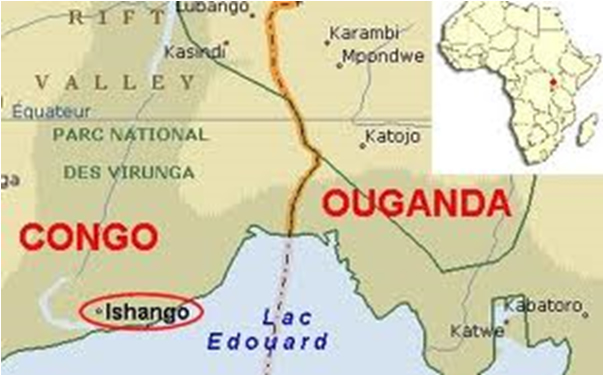 The location of Ishango