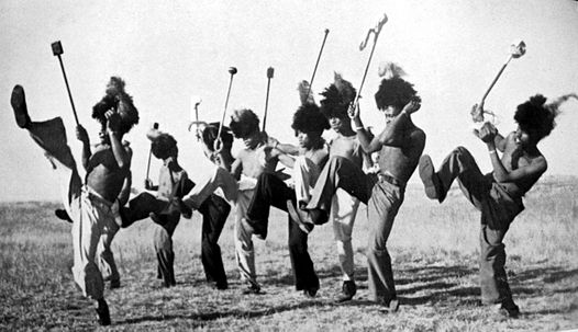 Mohobelo (Striding Dance) (Source photo: African Dances of the Witwatersrand Gold Mines by High Tracey 1952)