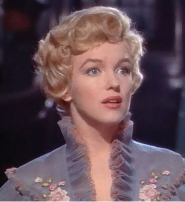 Cropped screenshot of Marilyn Monroe in the trailer for the film The Prince and the Showgirl, 1957