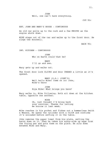 Example of screenplay formatting. Author Mendaliv.