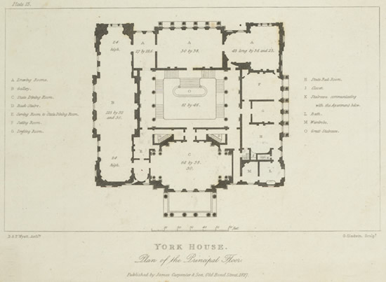 Plan d'un hôtel particulier, 1827. An early plan of the principal floor of York House in Pall Mall, London published in 1827.