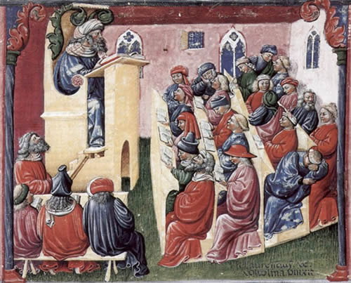 Representation of a university class in the 1350s
