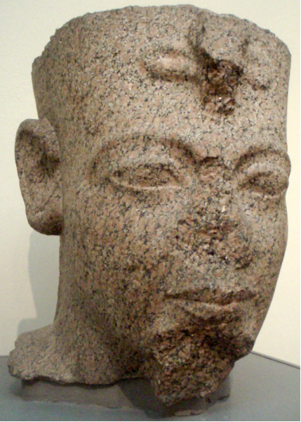 Colossal statue head of pharaoh Ramesses III, from Karnak, temple of Mut. Made of red granite, dynasty 20, circa 1182-1151 B.C. Possibly a usurped work from the time of Tutankhamun or one of his immediate successors. Now residing in the Museum of Fine Arts, Boston (Photo by Keith Schengili-Roberts).